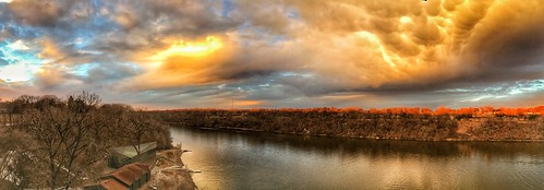 marshallavebridge rowing shell rowingclub river sunset stpaul minneapolis panorama hdr mississippi