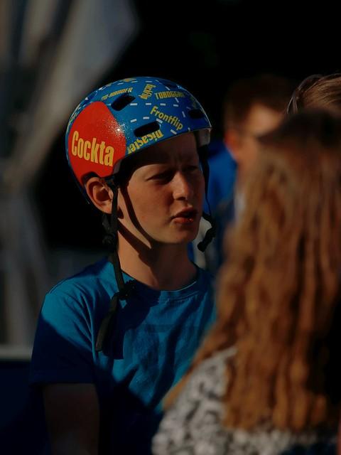 BMX-Trial Fahrer Autogrammjägerinnen