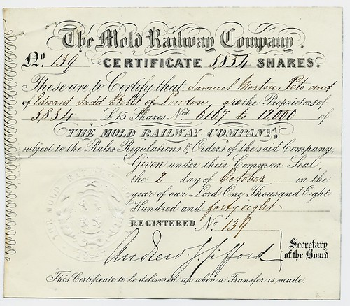 Mold Railway share certificate 1848 | by ian.dinmore