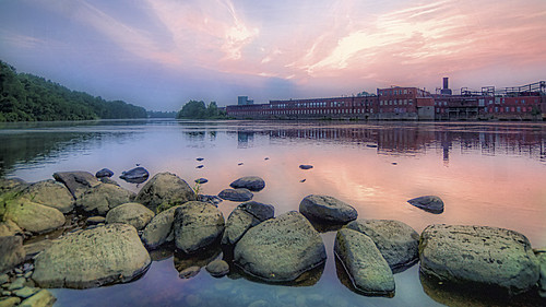 mill wet sunrise river dawn rocks boulders waterville predawn winslow kennebecriver kennebeccounty sigma1020mmf35