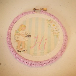 Vintage Clipart Embroidery Hoop with Crochet Edge
