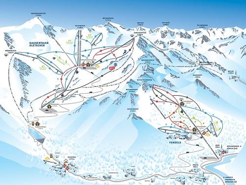 Kaunertal - mapa sjezdovek
