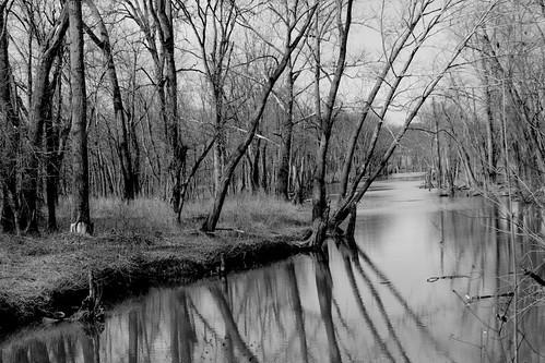 oxbowinc southeasternindiana canal reflections pond lake bw pentaxk3