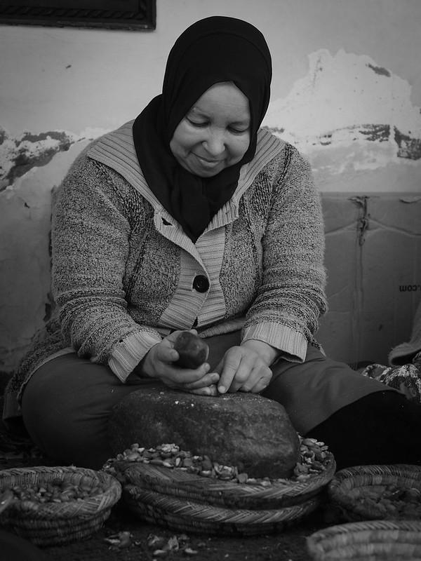 Women preparing argan nuts for oil