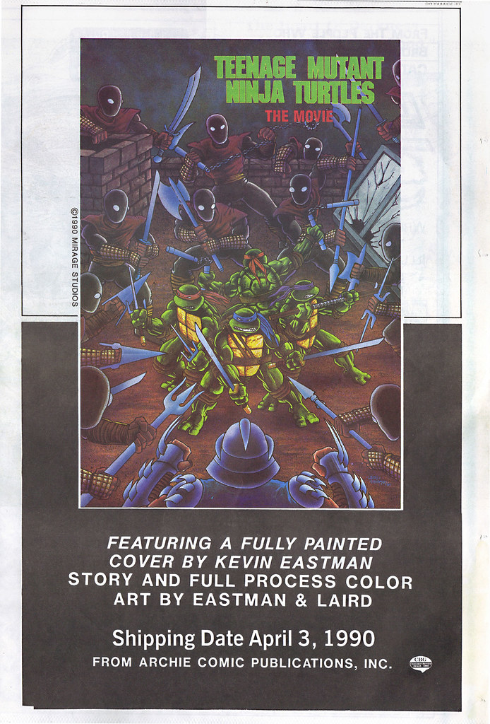 """ARCHIE COMICS :: 'TEENAGE MUTANT NINJA TURTLES' THE MOVIE; """"- ..A FULLY PAINTED COVER BY KEVIN EASTMAN ..   - -"""" (( 1990 )) by tOkKa"""