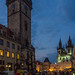 The Astronomical Clock and Tyn Church on Old town Square in Prague at night