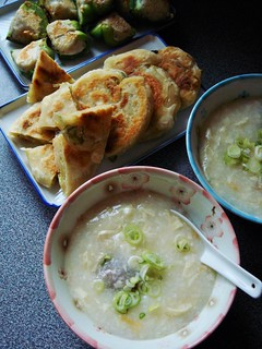 Congee, Green Onion Pancake, Pan-Seared Stuffed Peppers | by ComeUndone