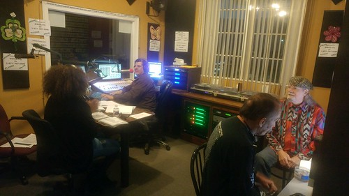 The Spring Pledge Drive officially begins, with Pamela Wood and Jorge on the air, and Louis Holmes and Tommy Boehm on the phone bank. Photo by KaTrina Griffin