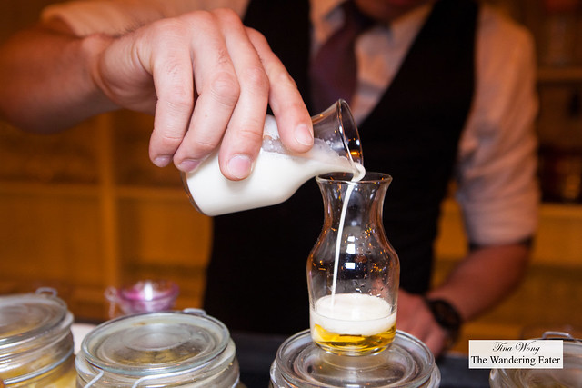 Mixing an infused heavy cream with Licor 43
