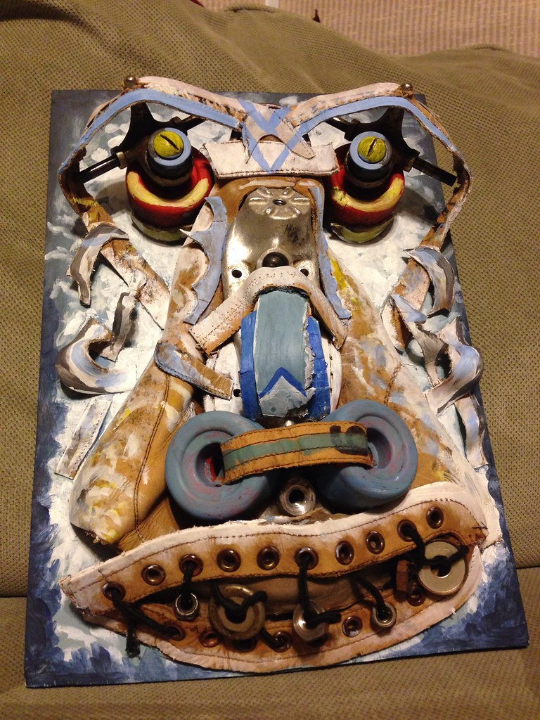 Smiling Yeti  Deconstructed roller skate, acrylic paint, w