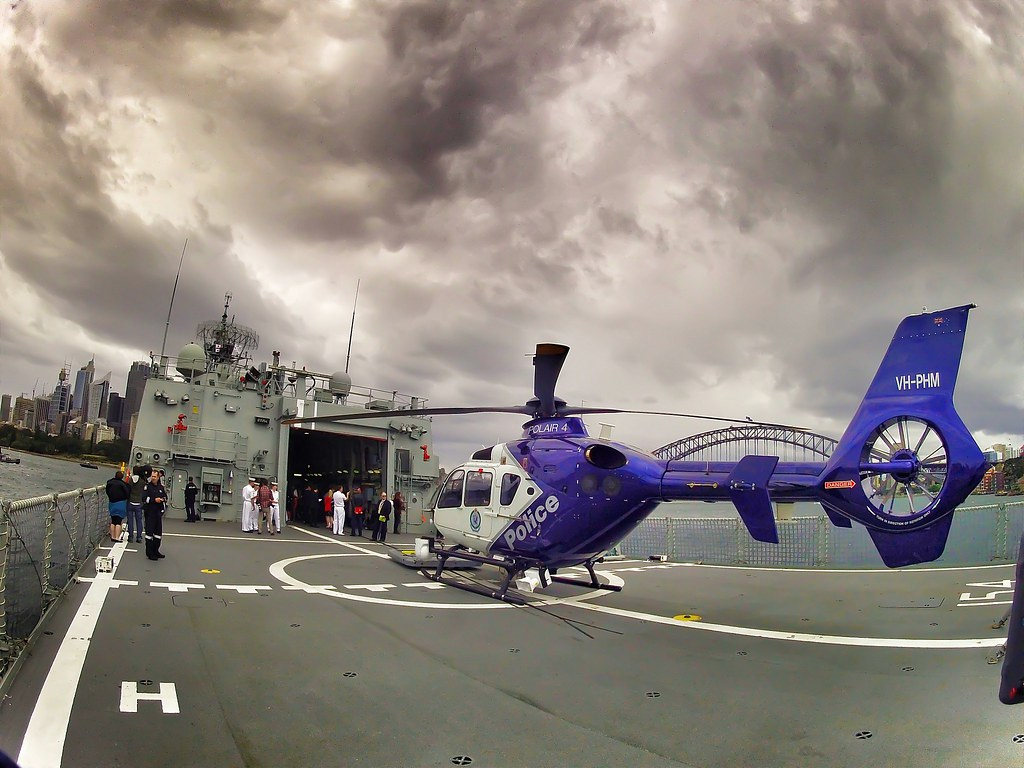 NSW Police helicopter POLAIR 4 lands on the flight deck of