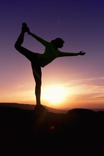 light sunset shadow sky orange silhouette yoga pose purple bend royal dancer balance meditation shiva natarajasana