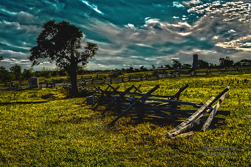 Peach Orchard 141st PA Monument Wheatfield Rd. Gettysburg, PA HDR 6X4