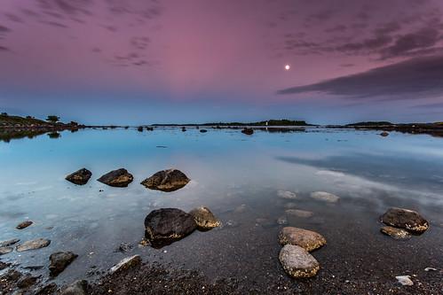 sea sky moon seascape water norway rocks 49 shore moonlight stillness tønsberg vestfold curtski22 kurtevensen kurtevensenphotography
