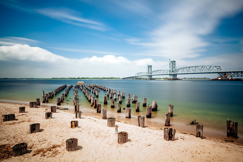 wood nyc newyorkcity bridge sea summer cloud ny newyork storm beach water rain skyline clouds coast pier seaside sand bridges bluesky pylon queens rockaway rockaways waterfron