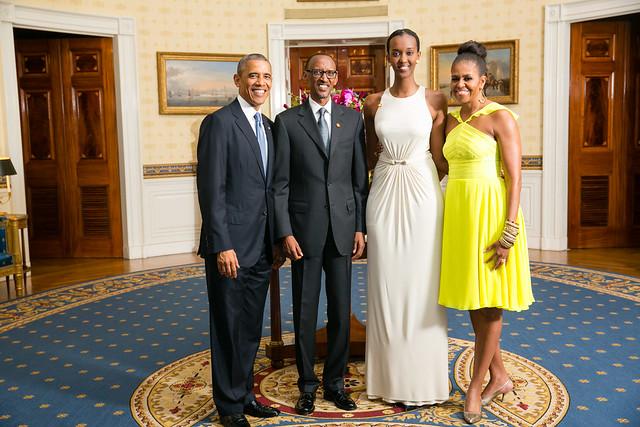President Barack Obama and First Lady Michelle Obama greet His Excellency Paul Kagame, President of the Republic of Rwanda, and his daughter