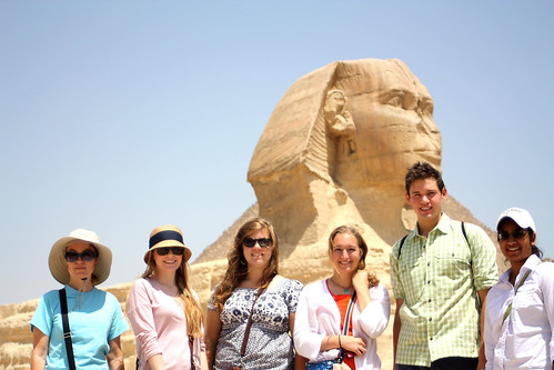 Students pose in front of the Sphinx in Egypt