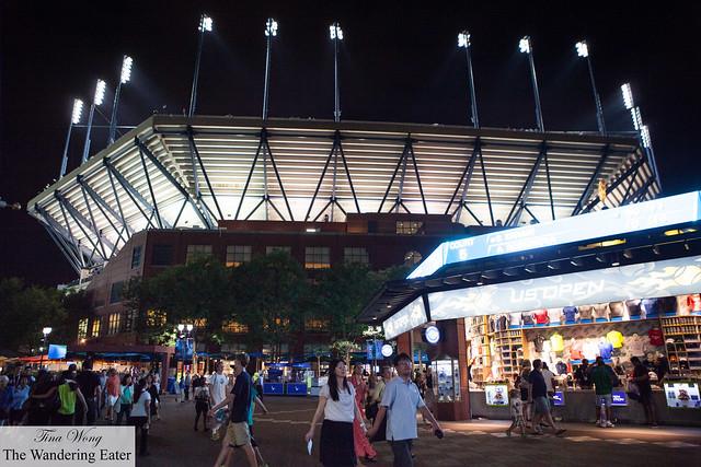 Arthur Ashe Stadium at night