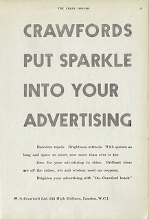 """Crawfords put sparkle into your advertising"" - press advert, 1948"