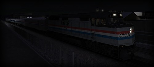 Amtrak Train #586 – Approaching San Diego, CA at night from Oceanside, CA.  Train being hauled by EMD F40PH locomotive. Train Simulator 2014 (Steam Edition).   by Esoteric_Desi