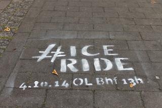 Sprühkreide-Ankündigung für den IceRide