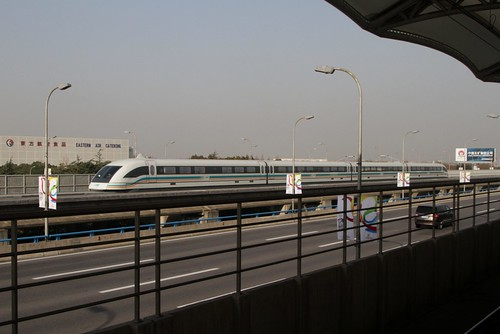 Maglev train speeds past Haitiansan Road Station at 300 km/h | by Marcus Wong from Geelong