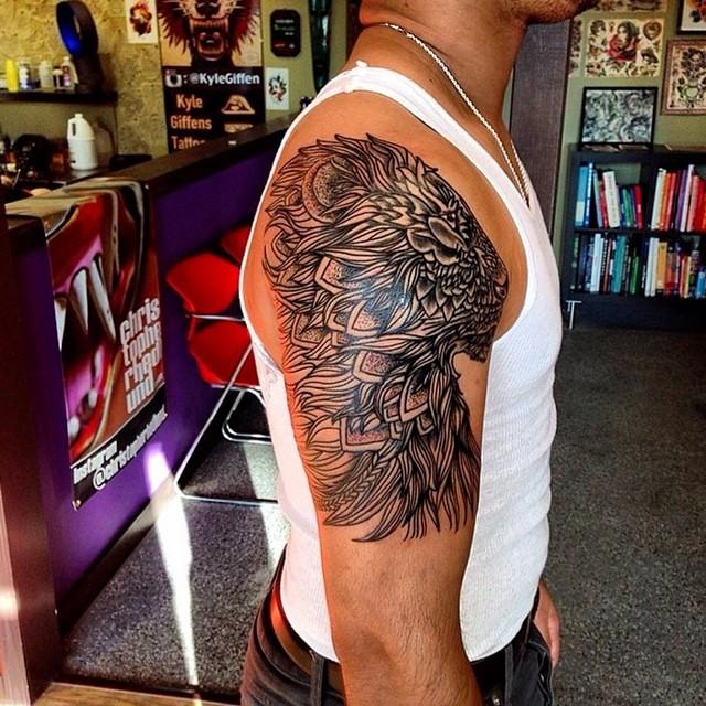 Lion tattoo by Cory. #lion #tattoo #dotwork #austin #texas #leander ...