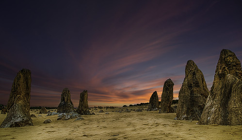 sunset clouds desert pinnacles