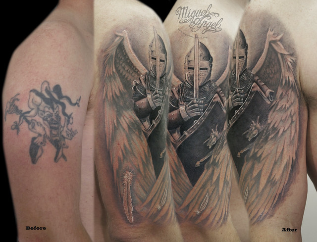 Custom Guardian Angel cover up tattoo