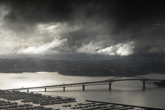 Auckland Harbour Bridge as seen from the Skytower