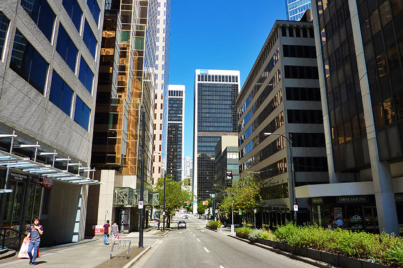 Sunday Morning in Downtown Vancouver, looking down Dunsmuir Street from Howe Street, Vancouver, British Columbia