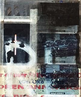 Zavier Ellis 'Repent I', 2014 Acrylic, c-type print, tape, acetate, poster on linen 30x25cm