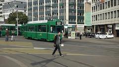 Basel, Aeschenplatz, Tran Lijn 14, 3 Single units, Middle Low Floor Adaptation