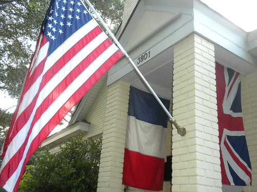 flags flagge fahne banner stripes red white blue usa france britain uk england sc carolina memory dday invasion war peace hang pole symbolism symbol 3801 porch southcarolina hanging breeze hot summer day view camera remember gallantry luck gamble courage valor sacrifice fear poland germany ussr krieg clinton hillary eisenhower roosevelt roja azul blanco usc