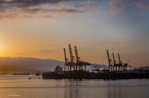 Sunrise over Vancouver port cranes | by Phil Marion (176 million views - THANKS)