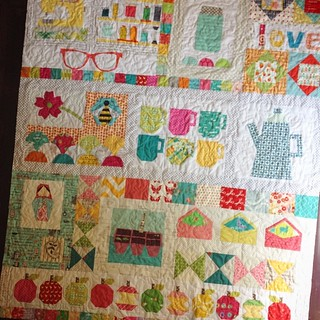 #circle7bee is quilted and squared up, now to bind!