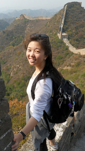 Student poses at the Great Wall of China