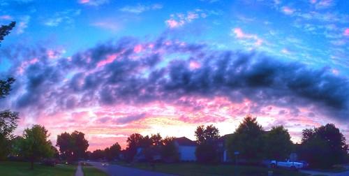 morning blue sky orange clouds sunrise purple howard stitched