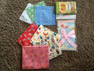 Happy Mail.  I love all of the fabrics I got, thank you!!  The note cards and jelly beans are great too. | by sewsarah2012
