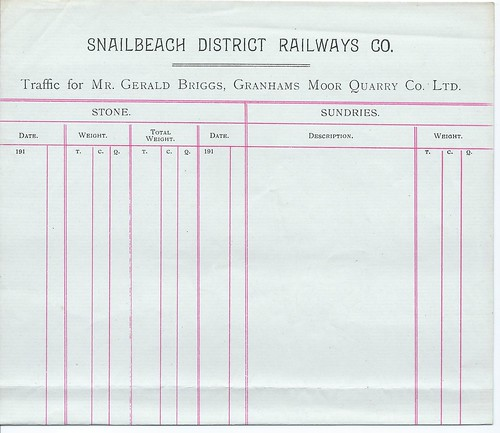 Snailbeach District Railway Blank Quarry Traffic Form Undated | by ian.dinmore