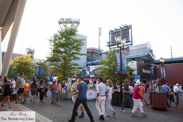 The crowds walking around the grounds of the US Open