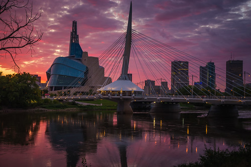 sunset canada building skyline museum architecture river for downtown winnipeg cityscape canadian manitoba human rights esplanade riel cmhr