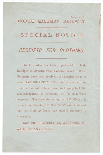 North Eastern Railway Reciepts for clothing circular 1878   by ian.dinmore