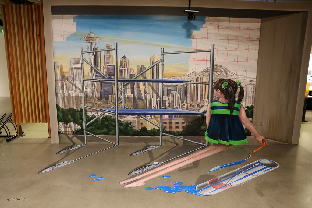 anamorphic-art-leonkeer | 3D mural in Seattle  Combination o… | Flickr