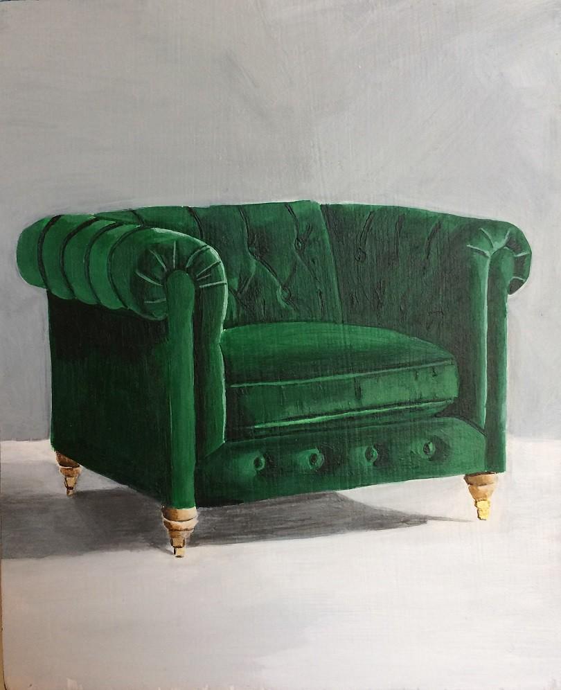 SOLD Megan LeForte, Green Club, Acrylic on Board