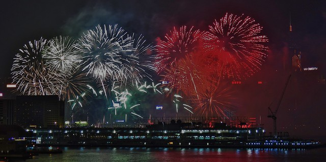 New Year 2016 Fireworks, Victoria Harbour, Hong Kong