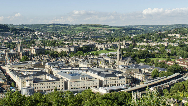 A view of Bath with various churches visible