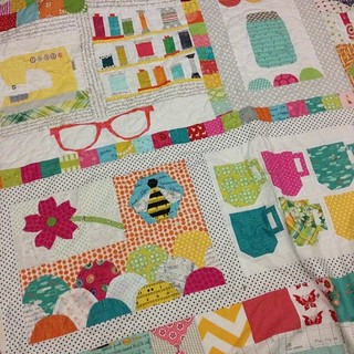 More than halfway finished quilting my #circle7bee traveling quilt