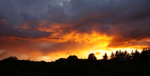 sunset sky norway fire