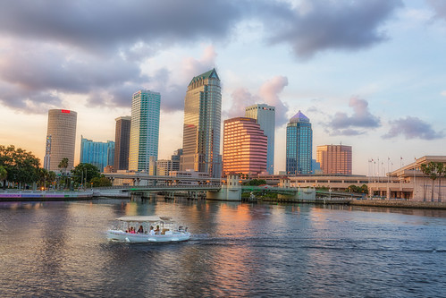 sunset reflection skyline clouds tampa effects boat other florida vehicles beercan processing nik hdr hillsboroughriver photomatix sykesbuilding plattstreetbridge rivergatebuilding